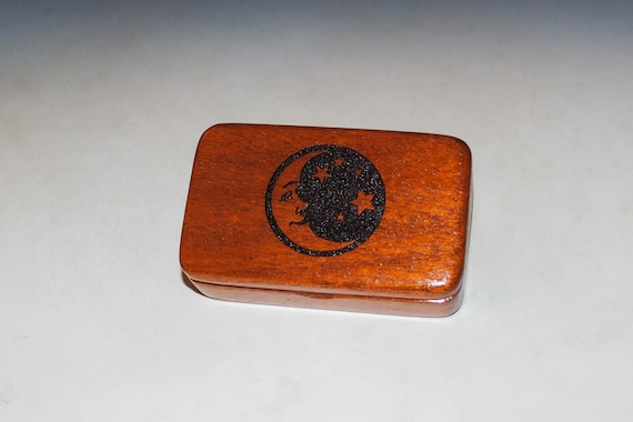Small Wooden Box With Moon & Stars Engraving of Mahogany - Handmade Small Wood Box by BurlWoodBox - Perfect Small Gift !