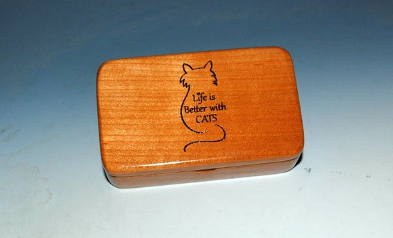 Small Wooden Box With Life is Better With Cats Engraving - Handmade Cherry Wood Box With Lid by BurlWoodBox - The Purrfect Gift!