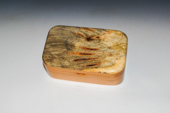 Wooden Trinket Box Of Buckeye Burl on Cherry - Handmade Hinged Wood Box With Lid by BurlWoodBox -  Small Box For Jewelry or Other Treasures