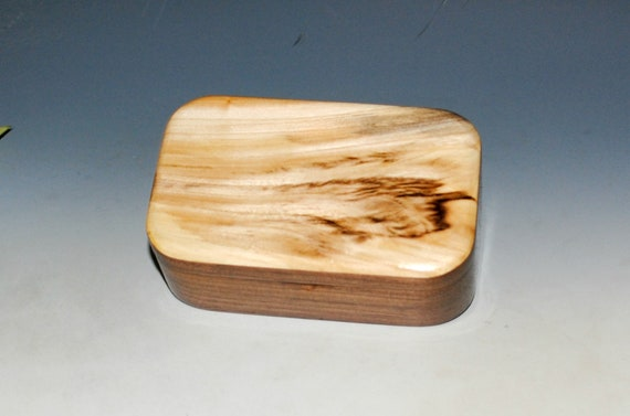 Handmade Spalted Elm on Walnut Wooden Trinket Box - USA Made Natural Hardwood Box by BurlWoodBox - Unique Gift !  Free Shipping