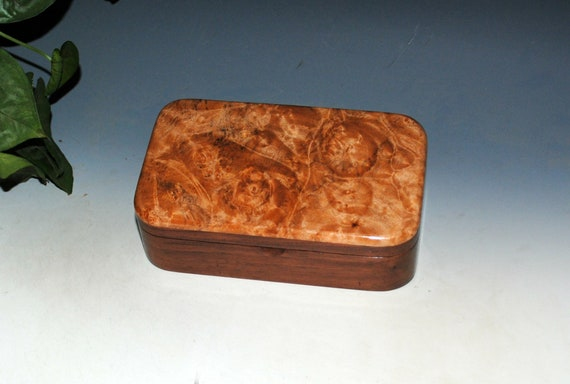 Wood Treasure Box of Walnut and Maple Burl - Handmade Wooden Box With Hinged Lid by BurlWoodBox