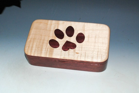 Wooden Box of Purple Heart and Curly Maple With Purple Heart Paw Inlay - Pet Person Gift !
