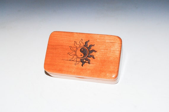 Small Wooden Box With Yin & Yang Sun Laser Engraved Sun on Cherry - Handmade Tiny Wood Box