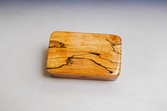 Very Small Wooden Box of Mahogany With Spalted Elm by BurlWoodBox - Small Wood Gift Box - Handmade in the USA