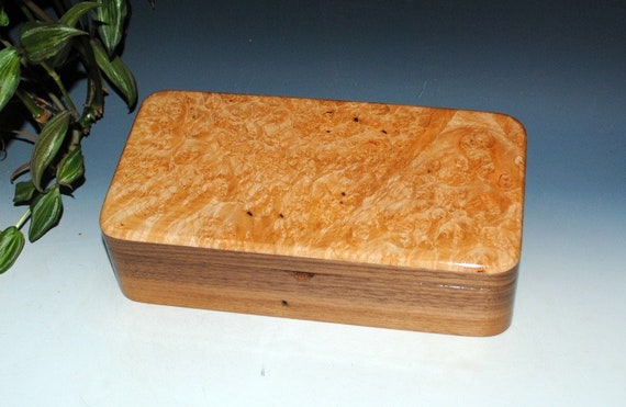 Wooden Box With Tray of Maple Burl on Walnut by BurlWoodBox - Nice Handmade Gift For Him !