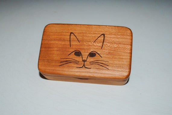 Small Wooden Box With Cat Engraved on Cherry- Handmade Tiny Wood Box With Food Grade Finish - Small Gift or Present