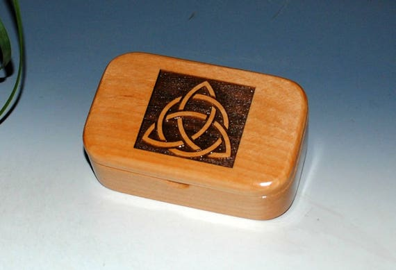 Triquetra Wood Box - Alder Handmade Wooden Trinket Box by BurlWoodBox - Desk or Gift Box, Business Card Box -Trinity Knot, Celtic Triangle