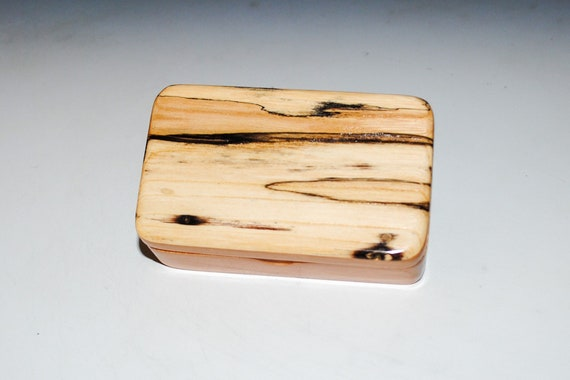 Very Small Wooden Box of Cherry With Spalted Elm Handmade by BurlWoodBox in the USA