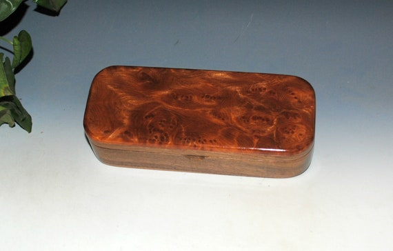 Wooden Pen, Pencil or Desk Box of Walnut With Redwood Burl -  Handmade Wood Box With Hinged Lid by BurlWoodBox - USA Made Gift !