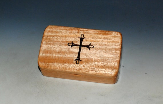 Small Wooden Box With Cross Engraving on Light Mahogany -  Rosary Box - Handmade Tiny Wood Box - Small Religious Gift