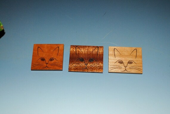 Cat Magnet - Engraved Cat Magnets on 3 Different Woods- Laser Engraved Magnet- Recycled Magnet- Upcycled Small Gift- Cat Face- Free Shipping