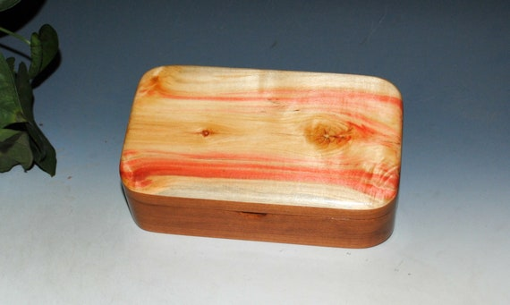 Spalted Box Elder on Cherry Wooden Treasure Box With Hinged Lid - USA Made Small Wood Jewelry Box