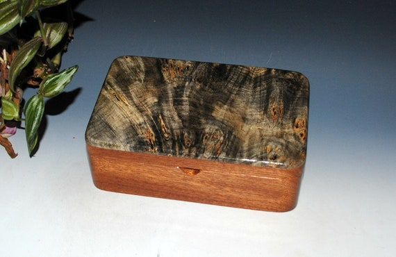 Wooden Box-Wood Stash Box, Desk Box, Jewelry Box in Mahogany with Buckeye Burl by BurlWoodBox - Handmade Wood Box - Gift Box, Wooden Boxes