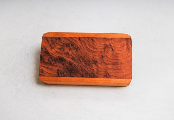 Slide Top Small Wood Box of Cherry With Redwood Burl - USA Made by BurlWoodBox With a Food Safe Finish