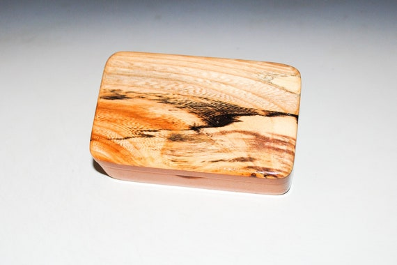 Small Wooden Box of Mahogany With Spalted Maple by BurlWoodBox - Small Wood Gift Box - Handmade in the USA