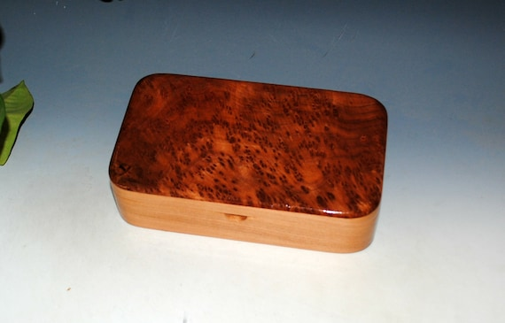 Handmade Wooden Box of  Redwood Burl on Cherry - Small Stash Box or Jewelry Box