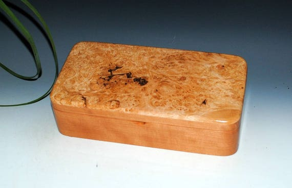 Wooden Box With Hinged Lid and Tray of Maple Burl on Cherry by BurlWoodBox - USA Made Unique Handmade Gift