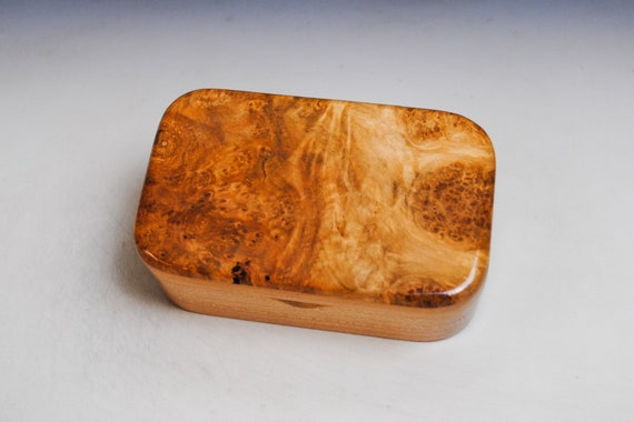 Wooden Trinket Box of Cherry And Maple Burl With Hinged Lid by BurlWoodBox - Boxes Are Great Gifts!