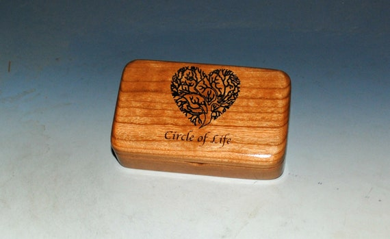 Tree of Life Heart With Circle of Life Text Very Small Wooden Box of Cherry - USA Made by BurlWoodBox