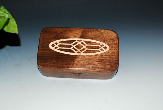 Wood Box - Walnut With Inlaid Fiddleback Maple Oval - Handmade Wood Box by BurlWoodBox - Art Deco, Wooden Box, Small Wood Box - Jewelry Box