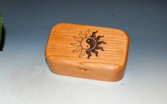 Wooden Box With Engraved Yin Yang Style Sun of Cherry - Handmade Wood Box for Treasures, Jewelry or a Gift