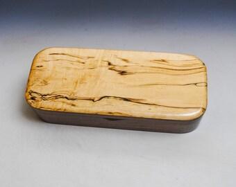 Wooden Pen Box of Spalted Maple & Walnut - Desk, Jewelry or Keepsake Box by BurlWoodBox