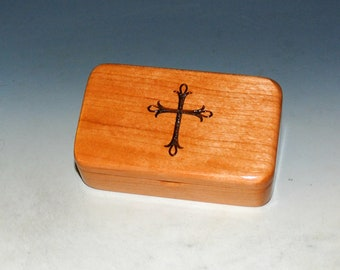 Small Wooden Box With Cross Engraving on Cherry -  Rosary Box - Handmade Tiny Wood Box - Small Religious Gift