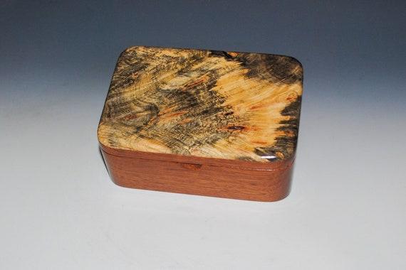 Wooden Box with Tray of Mahogany and Buckeye Burl- Handmade Hinged Box With Lid - USA Made