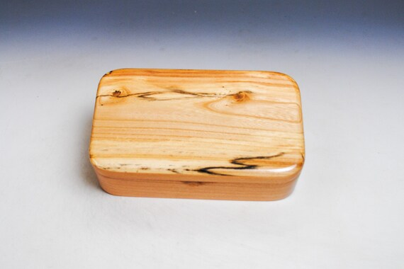 Wooden Treasure Box of Cherry & Spalted Elm - Handmade Wood Box With Hinged Lid by BurlWoodBox