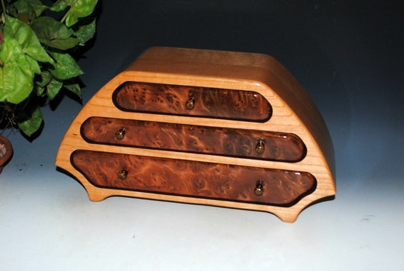 Handmade Wooden Jewelry Box of Cherry and Redwood Burl in Our Katie Style -  Large Wood Jewelry Box With Drawers Handmade by BurlWoodBox