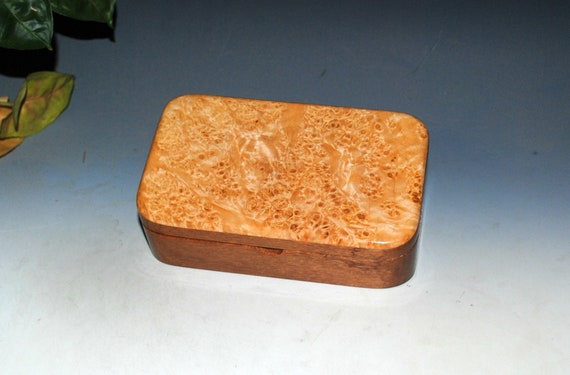 Wooden Trasure Box of Mahogany with Maple Burl - Handmade in the USA  by BurlWoodBox - Wood Boxes Make Great Gifts !