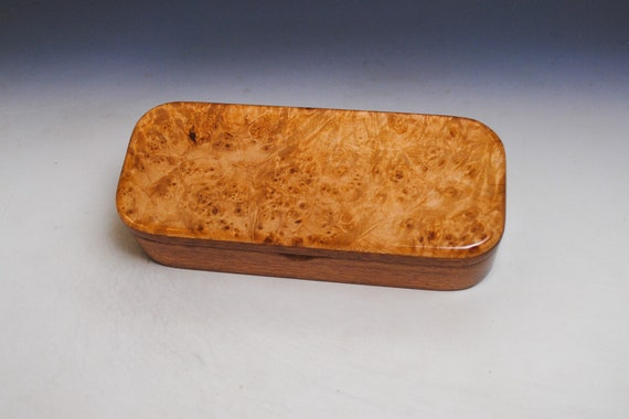 Wooden Pen, Pencil or Desk Box of Mahogany with Maple Burl With Hinged Lid by BurlWoodBox - Gift Presentaion Box