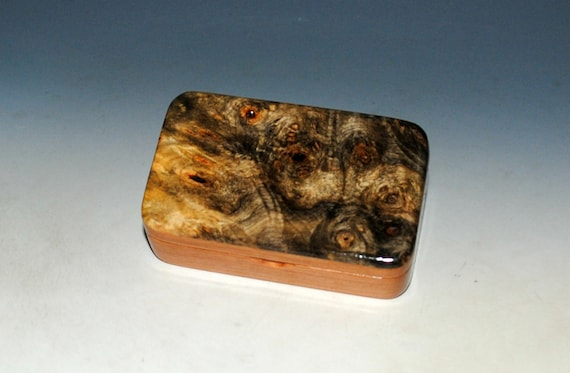 Small Wooden Box of Cherry & Buckeye Burl Handmade in the USA by BurlWoodBox - Great Gift !