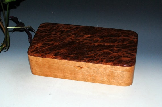 Handmade Wooden Box With Tray - Wood Box of Redwood Burl on Cherry by BurlWoodBox - Wood Jewelry Box, Stash Box, Handmade Wood Box, Tray Box