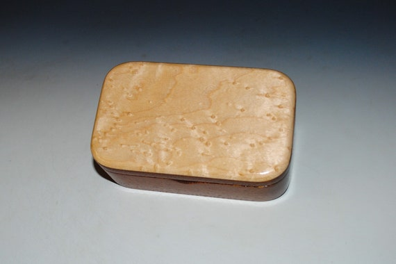 Wooden Trinket Box of Mahogany and Bidseye Maple With Hinged Lid by BurlWoodBox - Boxes Are Great Handmade Gifts!