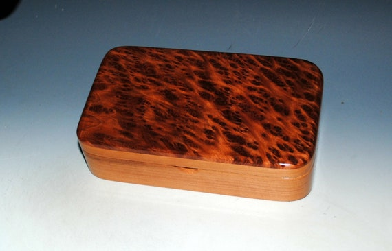 Wooden Box of Redwood Burl on Cherry - Handmade Wood Small Stash Box with Hinged Lid by BurlWoodBox -USA Made