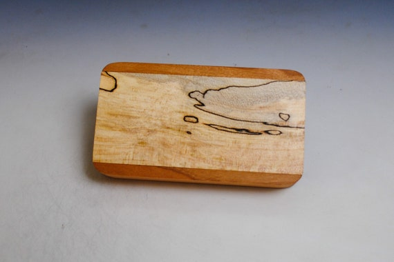 Slide Top Small Wood Box of Cherry With Spalted Maple - USA Made by BurlWoodBox With a Food Safe Finish