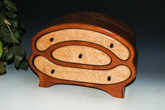 Wooden Jewelry Box in Our Rebekkah Style by BurlWoodBox of Cherry and Birdseye Maple - A Large Handmade Jewelry Box With Style - SALE!