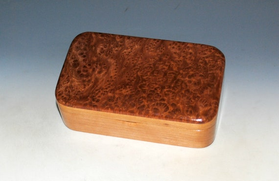 Wood Treasure Box of Redwood Burl on Cherry - Handmade in the USA by BurlWoodBox With Salvaged Cherry