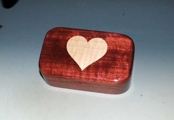 Wooden Heart Box of Curly Maple & Purple Heart - Trinket Box With Hinged Lid Handmade by BurlWoodBox