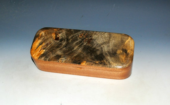 Wooden Pen Box of Buckeye Burl on Mahogany - Handmade Wood Box With Hinged Lid - USA Made by BurlWoodBox - Unique Gift !