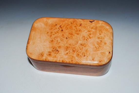 Wooden Trinket Box of Maple Burl on Mahogany -Small Wood Jewelry or Treasure Box Handmade by BurlWoodBox - Hinged Lid Box