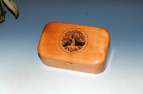 Tree of Life Engraved Wooden Trinket Box of Cherry -  Handmade In The USA by BurlWoodBox - Wood Boxes Are Great Gifts !