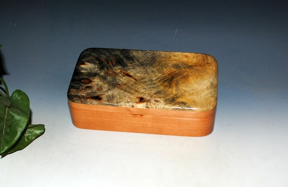 Handmade Wood Box With Hinged Lid of Buckeye Burl on Cherry - Small Stash or Jewelry Box