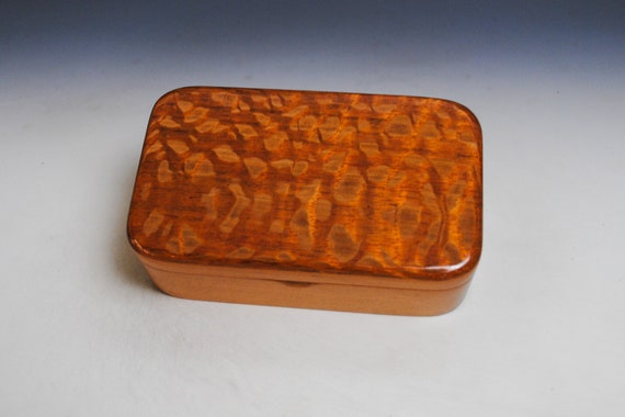 Wooden Box of Lacewood on Cherry  - Handmade Wood Treasure Box With Hinged Lid by BurlWoodBox - Unique Gift !