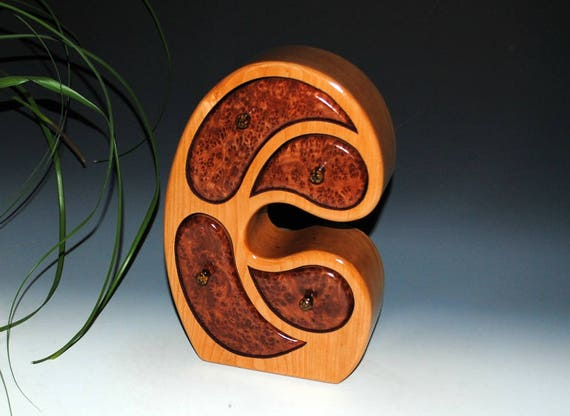 Wooden Jewelry Box - Madonna Style Redwood Burl on Cherry - Handmade Box by BurlWoodBox