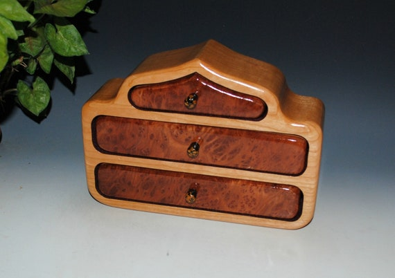 Handmade Wood Jewelry Box of Redwood Burl on Cherry in Our Pagoda Style - Wooden Jewelry Box With Drawers