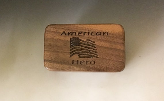Small Wood Box - American Hero With US Flag - Handmade in the USA - Veteran or Military Gift