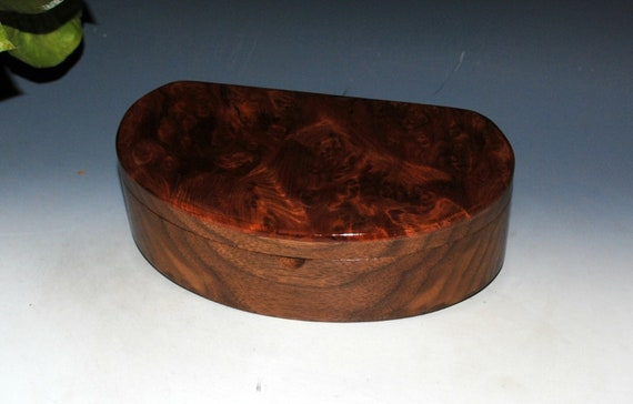 Wooden Box of Redwood Burl on Walnut With a Tray - Kidney Shaped Box by BurlWoodBox