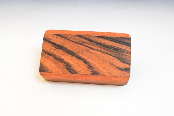 Slide Top Small Wood Box of Mahogany With Quartersawn Zebrawood - USA Made by BurlWoodBox With a Food Safe Finish